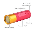 Pink Torch Pocket Flashlight Ultra Bright Aluminum Alloy 3W 150Lm COB AAA Battery Pink Torch Waterproof Mini Pocket LED Torch Flashlight For Emergency