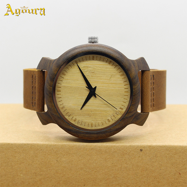 Custom environment-friendly wood watch natural ebony without time scale waterproofing wood watch