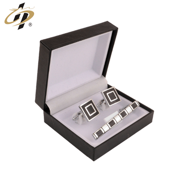 Wholesale brass metal silver color tie clip men cufflinks with gift box