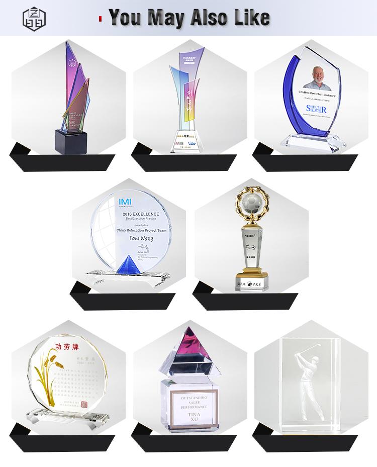 Di alta Qualità Su Misura di Disegno Unico Giallo K9 Cristal Targa In Bianco Di Cristallo Trofeo Premi