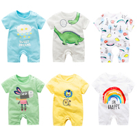 Wholesale OEM Newborn Baby Romper Summer 100% Cotton Infant Toddler Short Sleeve Onesie