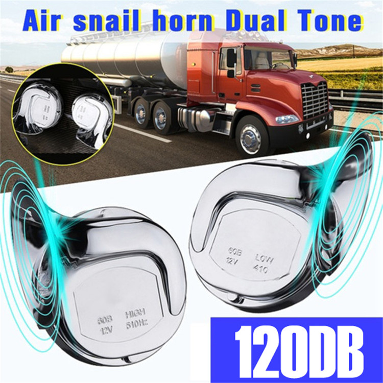 Wholesale Custom 2 Pcs 12V 120dB Car Horn Motorcycle Universal Chrome Dual Tone Trumpet Air Snail Horn Set
