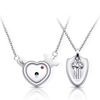 Logo Customization [ Silver Necklaces ] Necklaces Couple Necklaces Couple Jewellery Sets Love Heart Lock Key Pendant Silver Plated Necklaces