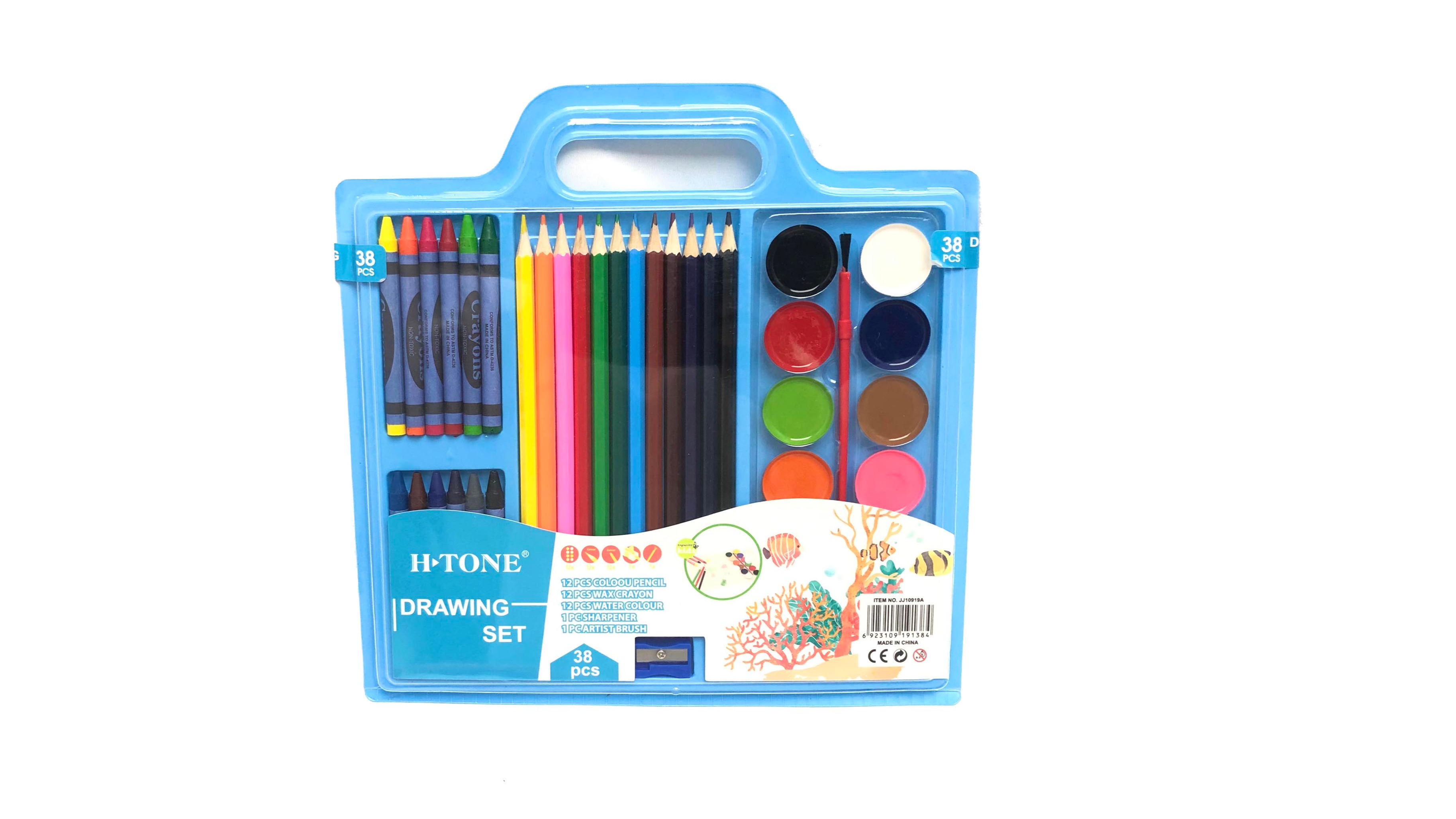 ड्राइंग सेट पानी के रंग का पेंट/रंगीन पेंसिल/Caryon स्टेशनरी 38pcs पेंट सेट बच्चों के छात्रों को उपयोग