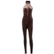 ArtSu фланелевые комбинезоны без рукавов с лямкой на молнии, длинные штаны, комбинезон, цельные наряды, женская сексуальная осенняя одежда ...(Китай)