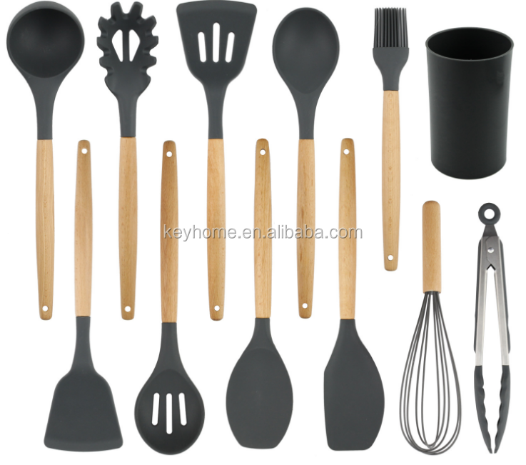 Hot sell 11 Pieces Set Cooking Tools Silicone Wooden Kitchen Utensils