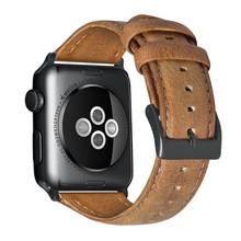 Винтажный ремешок из яловой кожи для Apple Watch, 44 мм, 40 мм, iwatch 5, 4, 3, 2, 1, браслет 42 мм, 38 мм, браслет с текстурой Crazy Horse(Китай)