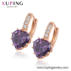 Alloy Gold Earring Hoop Earrings Earring Hoop 80284 Xuping Rose Gold Plated Earring Cubic Zircon Hoop Earrings Zircon Heart Earring