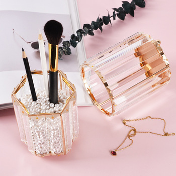 Makeup Brush Holder Luxury Gold Vanity Storage Organizer Case Cup Clear Cylinder Make Up Holder Acrylic Glass Makeup Brush Box