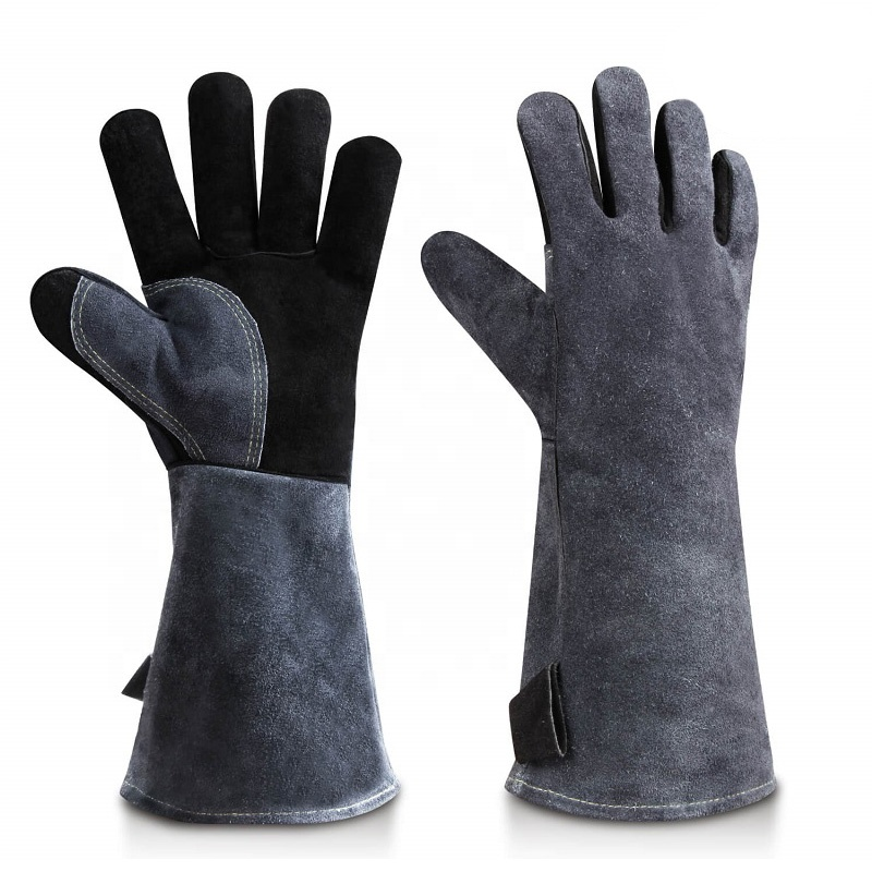 Ozero Kitchen Cooking Oven Barbecue <strong>Gloves</strong> Luvas Para Solda Heat Resistant Leather BBQ Welding <strong>Gloves</strong> CE .