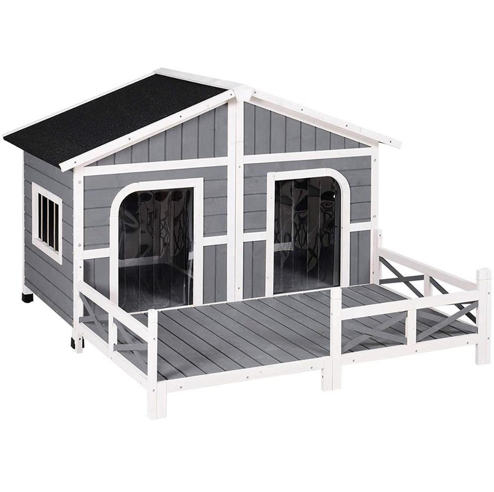 Ao ar livre À Prova de Intempéries Pet Grande Canil Casa de cachorro de Madeira Estilo Rústico Cabana