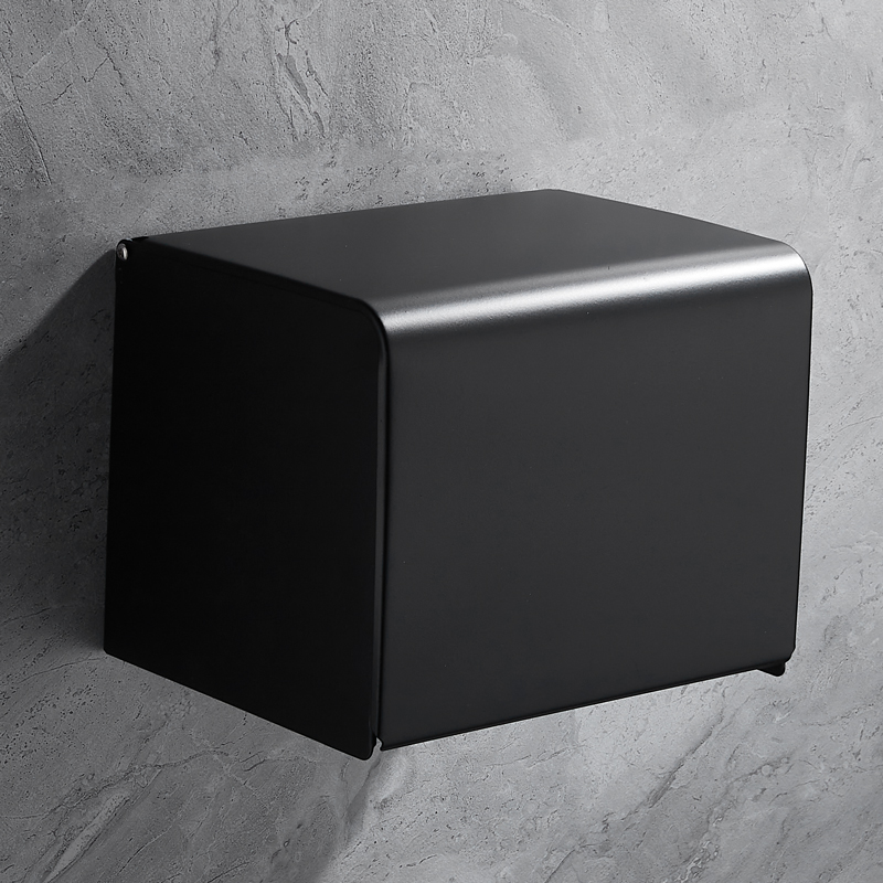 Black Stainless Steel Premium Wall-Mounted Tissue Box Holder Waterproof Bathroom Paper Holder Multifunctional Tissue Box