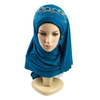 Factory supplier color plain women printed cotton hijab muslim jersey stone hijab for muslim women