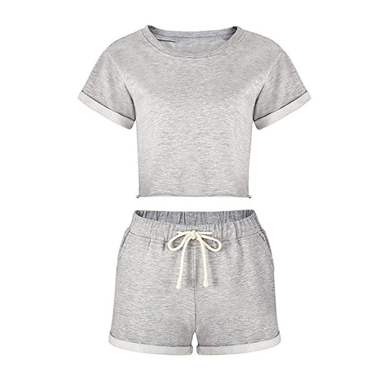 women tracksuit summer crop top and shorts yoga shorts set