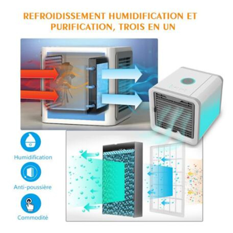 Portable Mini Air Cooler Air Conditioner 7 Colors LED Light Humidifier personal space cooler in lahore