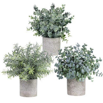 Set of 3 Mini Potted Artificial Eucalyptus Plants Plastic Faux Green Rosemary Plant for Home Decor
