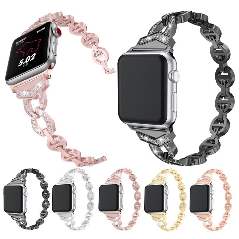 Wholesale Link Bracelet Diamond Metal Bands For Apple Watch iWatch Metal Strap 42mm 38mm