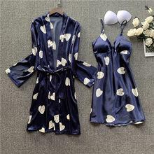 Fdfklak, новинка, 7 видов стилей, с принтом, летняя, Женский комплект 2 шт., шелковая пижама, сексуальная, ночная рубашка, комплект для отдыха, ночн...(Китай)