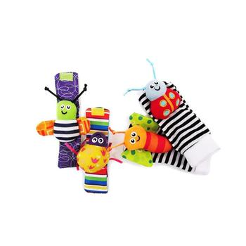 Amazon Hot Sale Cute Animal Soft Cotton Baby Socks Toys Wrist Rattles and Foot Finders for Fun Butterflies and Lady bugs