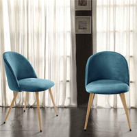 Modern Vetvel Fabric Metal Legs Dining Chair in Many Colors