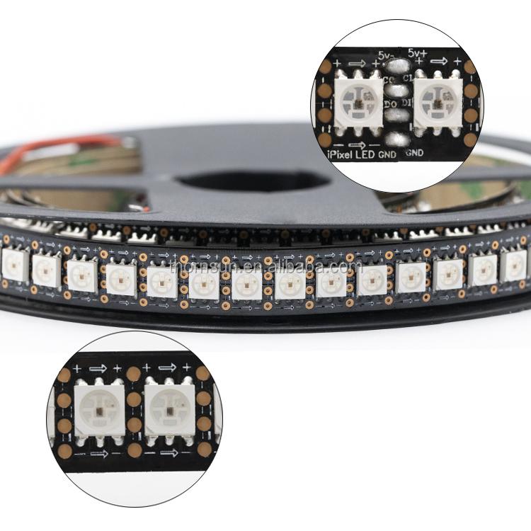 Addressable RGB color DC5V LED strip 5050 SMD flexible light 144pixels SK9822/apa102c