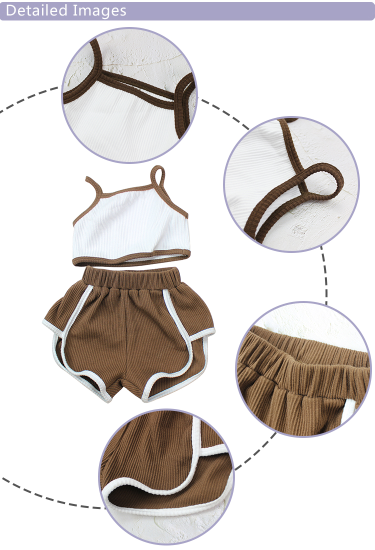 Ribbed Cotton Kids Outfit Clothing Summer Baby Girl kids clothing Set