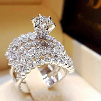2Pcs/Set Luxury CZ Crystal Rings Sparkling Crystal Zircon Wedding Ring Set Engagement Rings for Women Fashion Jewelry Gift