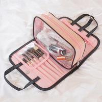 Promotional Waterproof Transparent PVC Plastic Clear Cosmetic Bag with Non-woven Edge