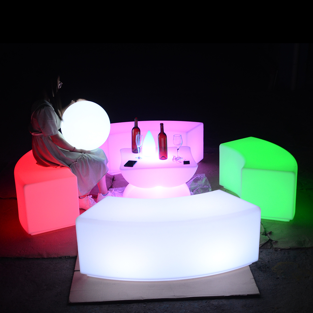 Moderno bar sillas de cubo LED silla con cambio de color