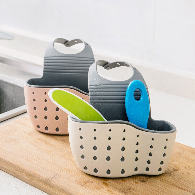 Adjustable Kitchen <strong>Bathroom</strong> Sink Faucet Hanging Sponge <strong>Storage</strong> Bag Drain <strong>Basket</strong>