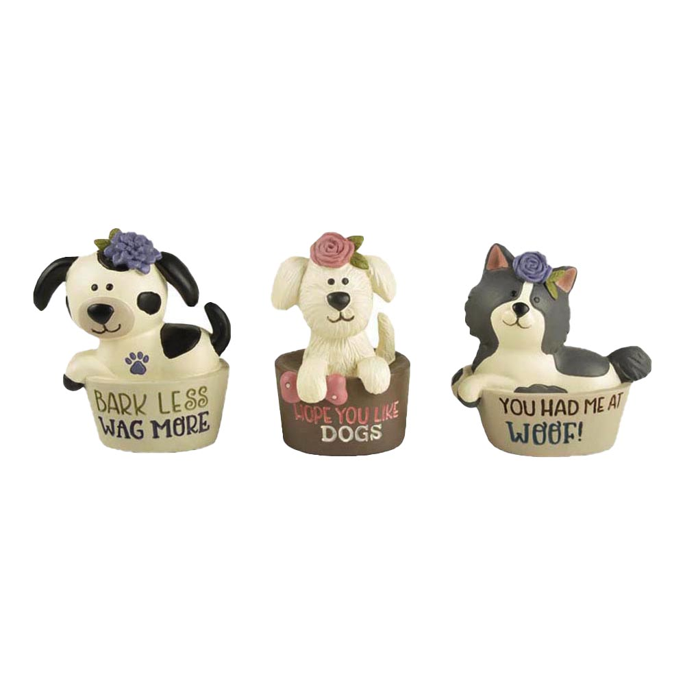 2020 Hot Sale Figurine Polyresin Set of 3 Dogs in Their Beds with Wordings