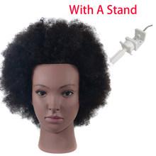 Афро учебная голова манекен 10 дюймов 100% человеческие волосы практика прически окрашивание обучение салон парикмахер парик головы(Китай)