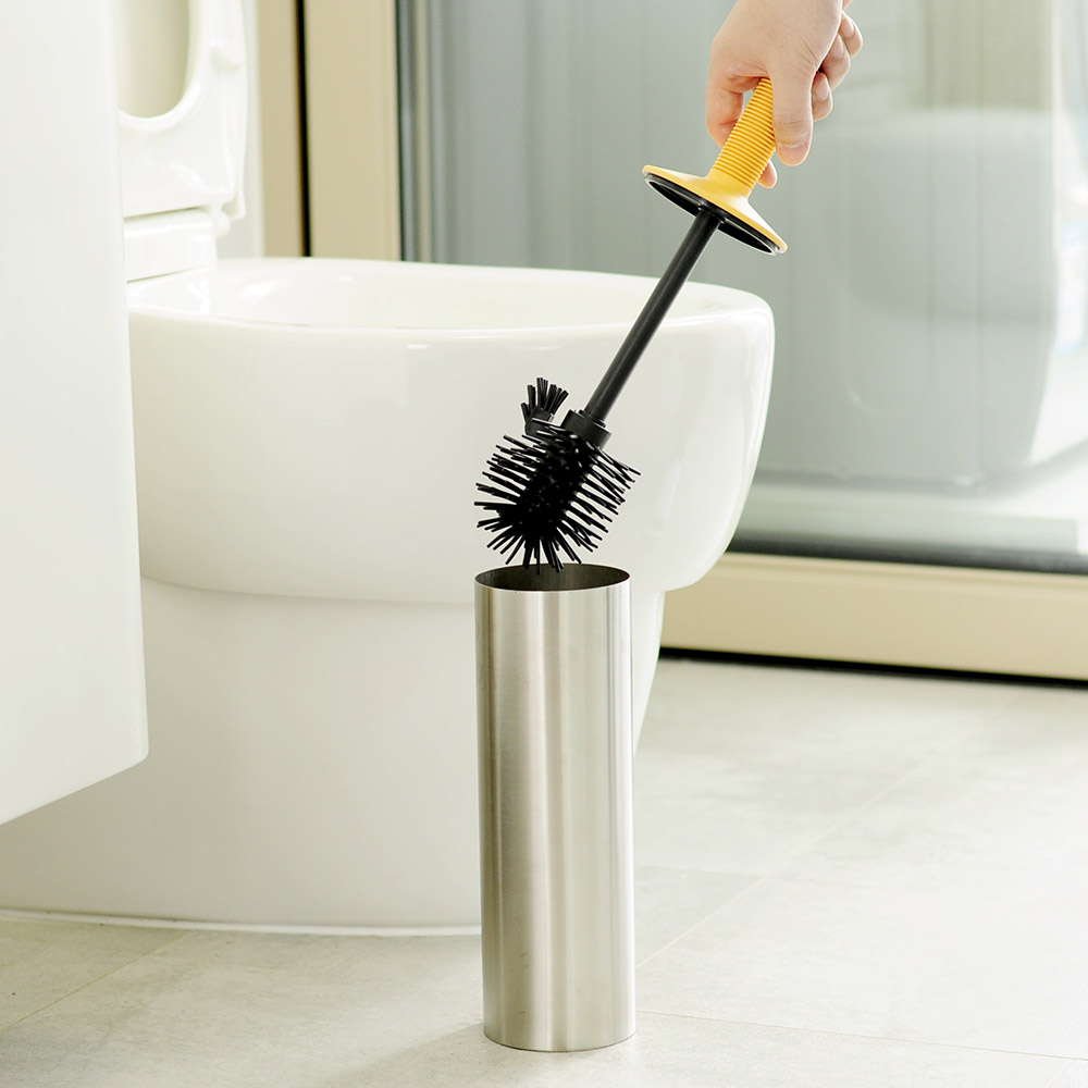<strong>Stainless</strong> <strong>Steel</strong> Bathroom <strong>Toilet</strong> Cleaning <strong>brush</strong> Antimicrobial And Holder Free Standing Set