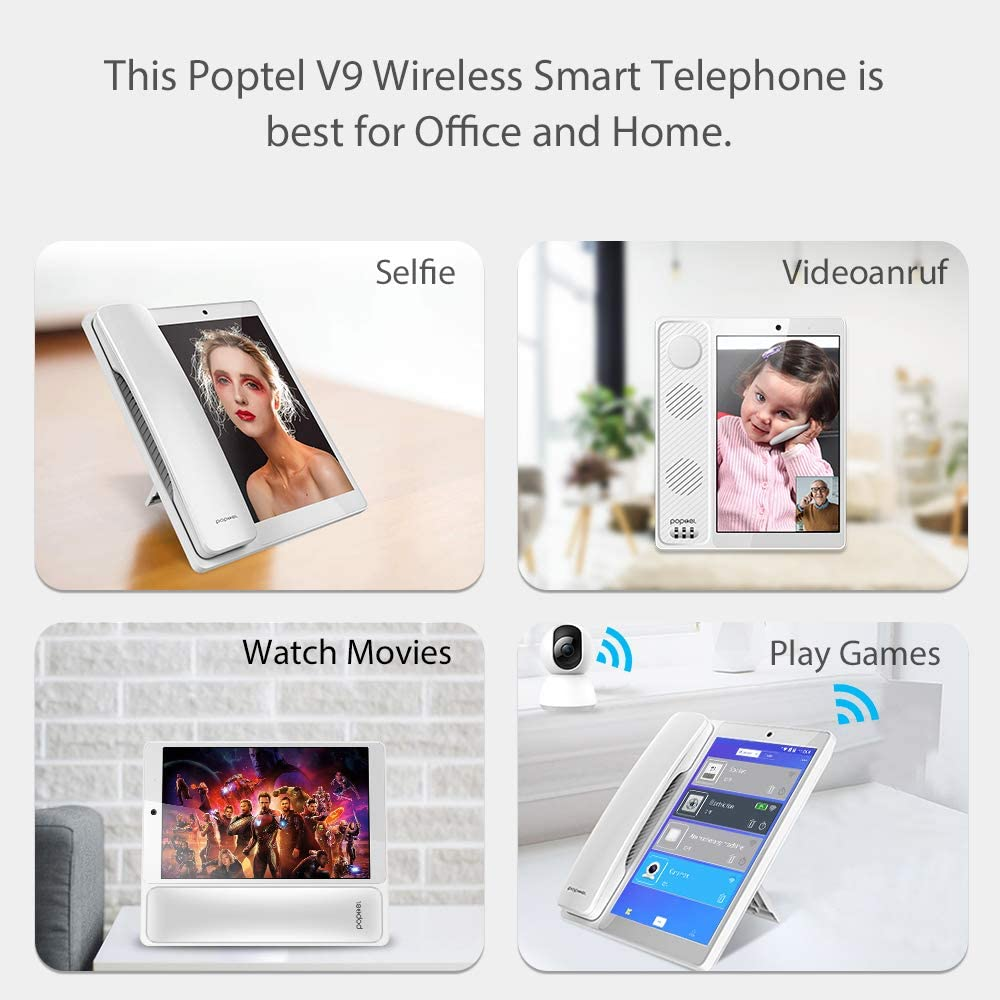 wireless smart telephone 8 inch 2g/16g bluetooth handset for cell phone android 8.1 video telephone tablet phone poptel v9