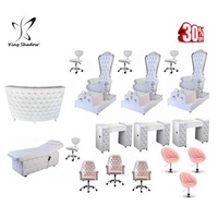 White Luxury Throne Pedicure Chair Modern Foot Spa Bowl Pedicure Chairs for Nails Salon