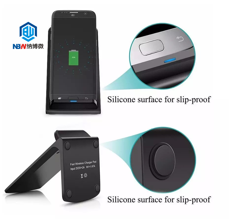 2019 Hot Sale 10W Portable Vertical Wireless Charger with LED Indicator Fast Charge for Qi Standard Smart Mobile Cellphone