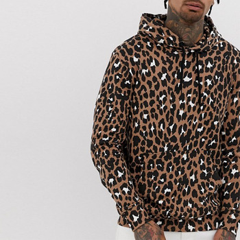 Newest Design Fashion Drawstring Cheap Pullover Leopard Hoodies Men