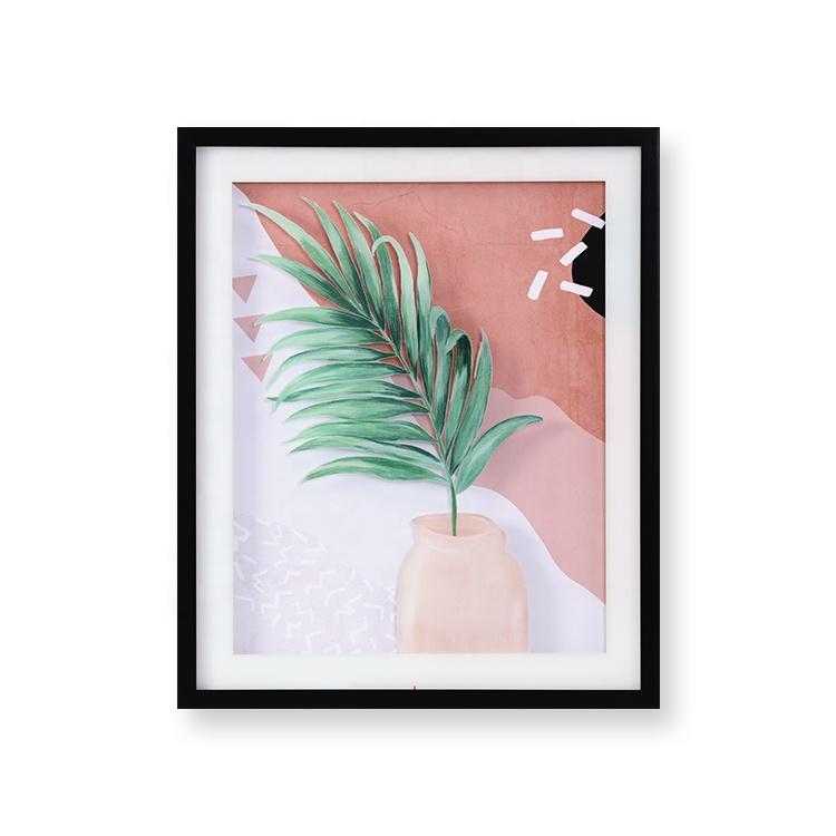유리 위에 그린 스타일 식물 이미지 사무실 바 홈 장식 그림 벽 아트 프레임을 사용자 정의