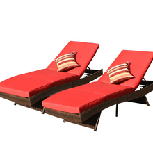 2 pcs Outdoor Chaise Lounges-Rattan Wicker Pollside Lounge Stühle