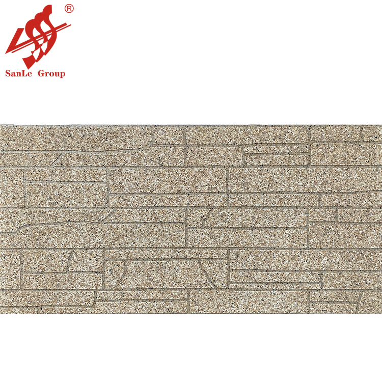 Stone textured exterior wall panel with natural stonelike paint