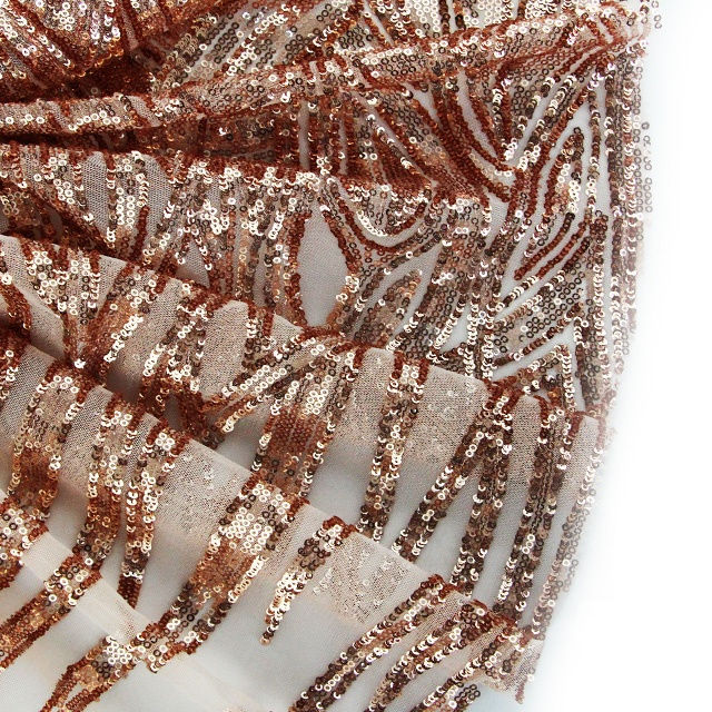 100D Polyester New Customized Rose Gold Sequin Fabric For Dress