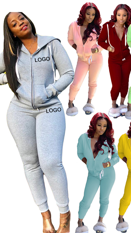 High Quality Sports Wear Women Fall Clothing 2 Piece Pants Set Ladies Sweat Suits