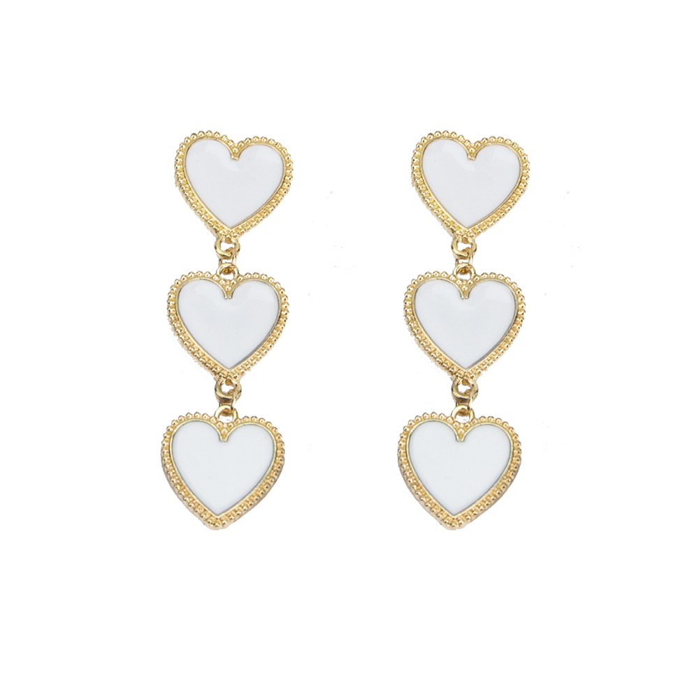 Best selling explosions earrings jewelry creative dripping oil 3 layer white heart pendant earrings fashion punk new jewelry