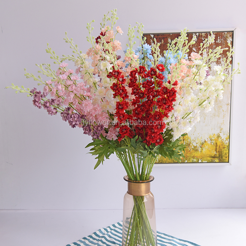 Wit Nep Antirrhinum Snapdragon Bloesems Single Stem Kunstmatige Delphinium Orchidee violet voor Home Office Decor