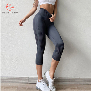 Sexy Shaping Hip Yoga Pants Women Fitness Tights Workout Sport Running Bottom Slim Cropped High Waist Leggings Gym Clothing