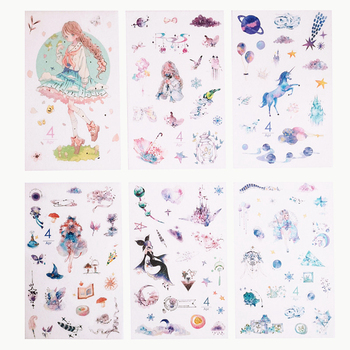 Cute Japanese Style Fresh December Girl Series Hand-Painted Die Cut Sticker, Washi Stickers