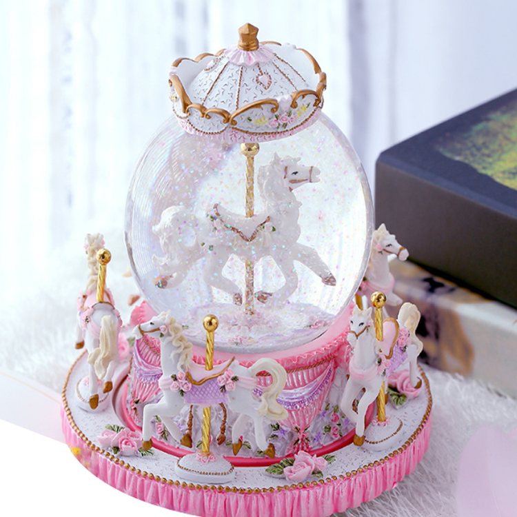 Cheap Rechargeable Carousel music box custom music box mechanism led crystal snow globe carousel crystal music box with light