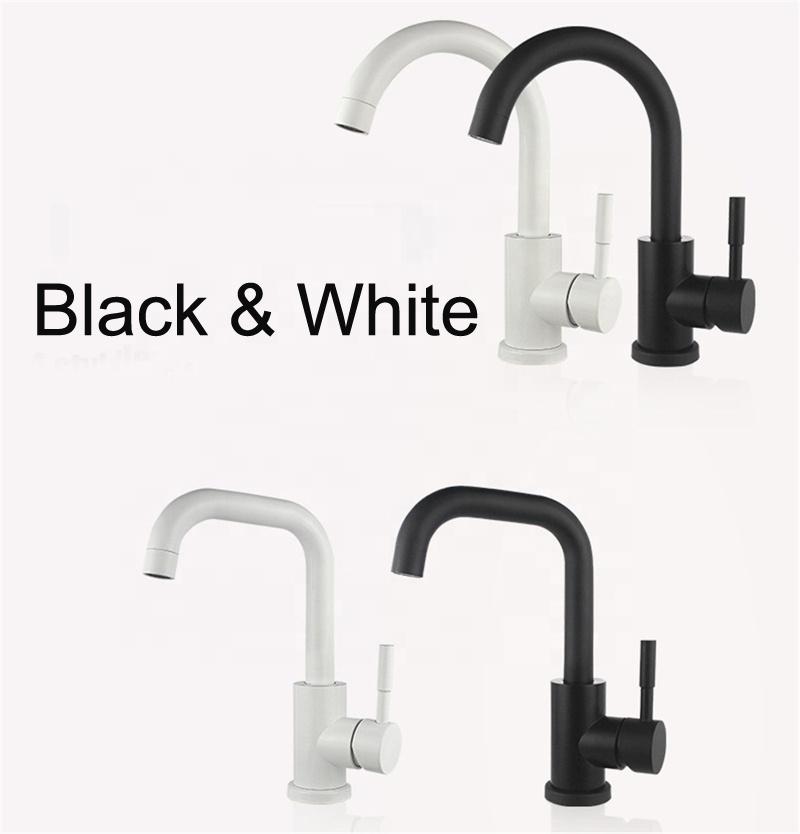 Full set SUS304 stainless steel bathroom washbasin faucet black finish (SS05B_black)