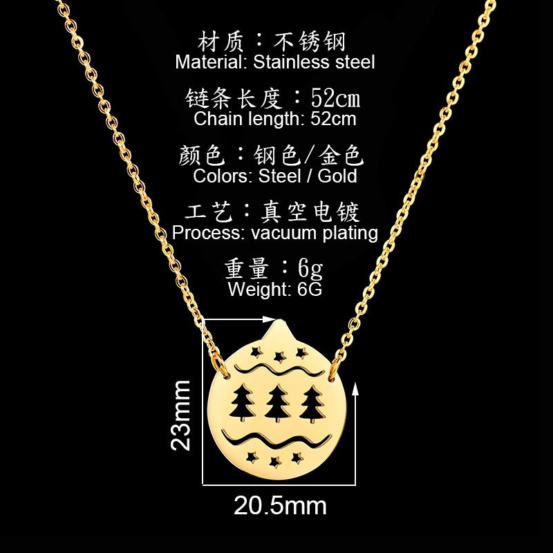 New Arrival Christmas Jewelry Stainless Steel Cute Christmas Tree Cap Shaped Pendant Chain Necklace For Men Women