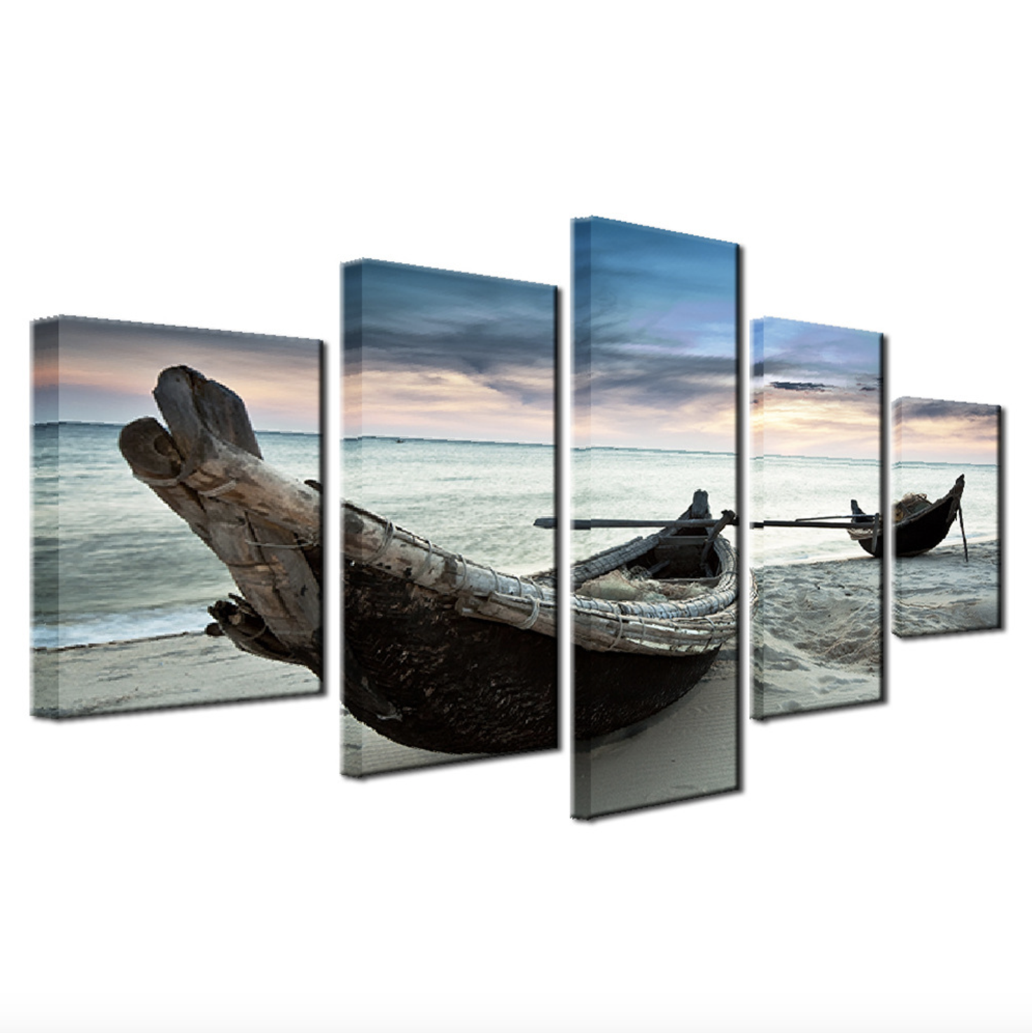 5 Panel Modern Scenery Boats On The Beach Canvas Printed Wall Decoration Painting with Water-proof